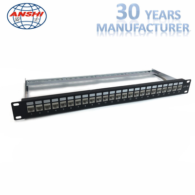Unloaded Trống Rack Mount Patch Panel STP Shielded Network Patch Panel Loại mô-đun